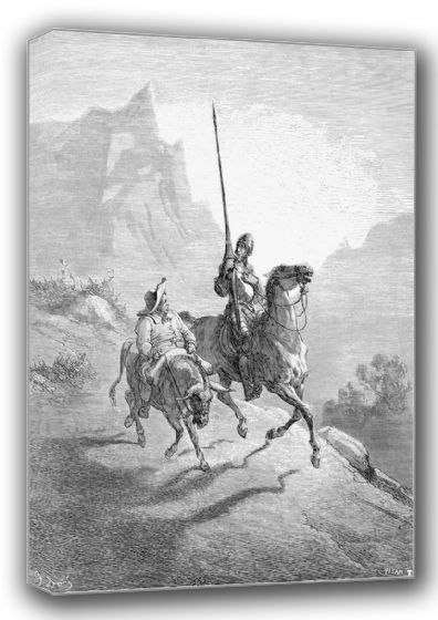 Dore, Gustave: Don Quixote and Sancho Setting Out. Fine Art Canvas. Sizes: A4/A3/A2/A1 (001224)